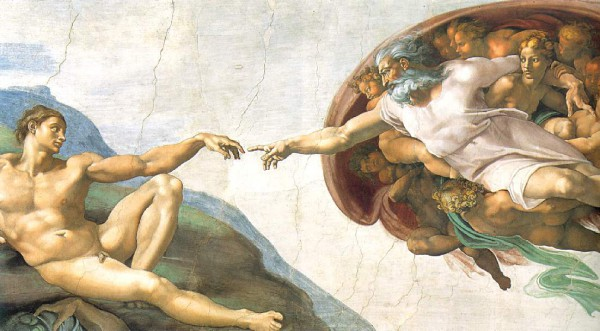 The Creation of Adam by Michelangelo illustrates the Genesis creation narrative